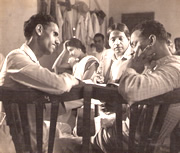 L to R: Shantaram Athavale (Song Writer), Shanta Hublikar (Actress), Master Krishnarao (Music Director), V. Shantaram (Director)